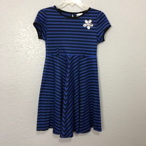 Girls Emily West Striped Blue and Black Dress